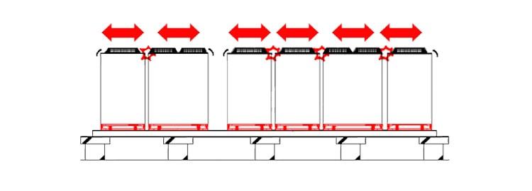 マルチ型防震ユニットによる個別防震の場合