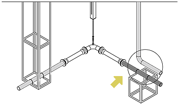 Where there is piping supported by the building near the ground fixing frame.