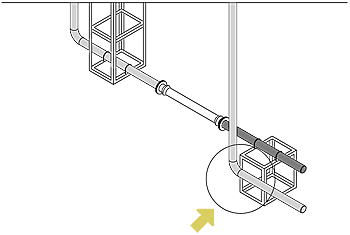 Where there is piping supported by the building near the ground fixing frame
