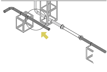 Where there is piping supported by the ground near the building fixing frame